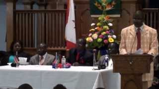 South Sudanese chairperson Mario Madut Ayudo speech in the James Igg meeting in Calgary.