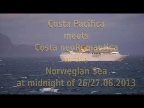 Costa Pacifica meets Costa neoRomantica in the Norwegian Sea 2013-06-27