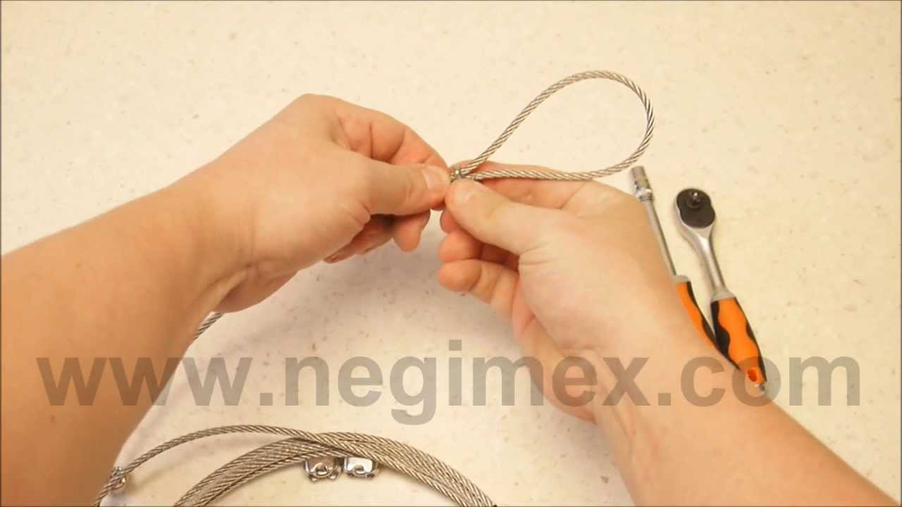 negimex pose de serre cable sur un filin de suspension inox