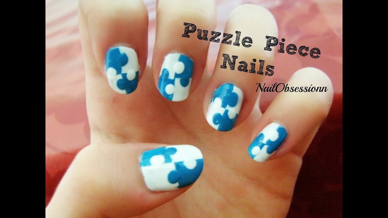 Easy puzzle piece nail art youtube prinsesfo Images