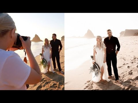 The MOST Beautiful Romantic ENGAGEMENT PHOTOSHOOT On A Beach And In The Garden Behind The Scenes