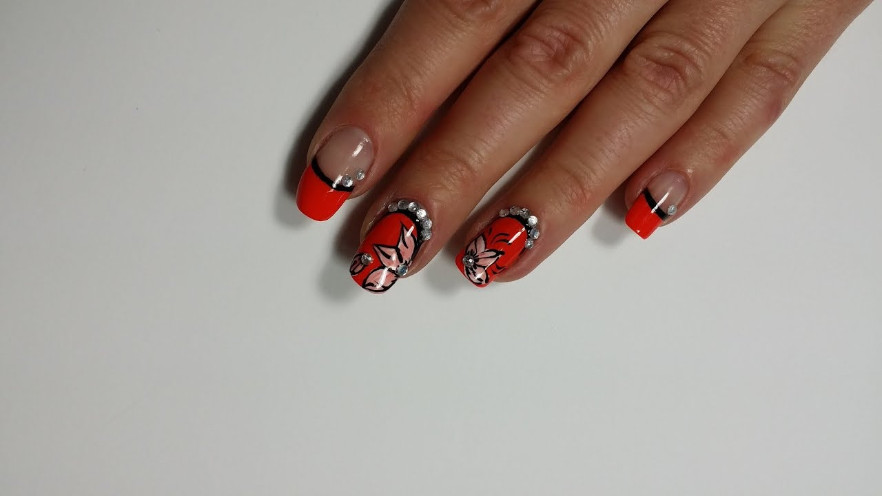 Mothers Day One Stroke Nail Art Flower French Manicure Design You