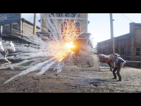 Red Dead Redemption 2 Fire Bottle & Dynamite Gameplay #4