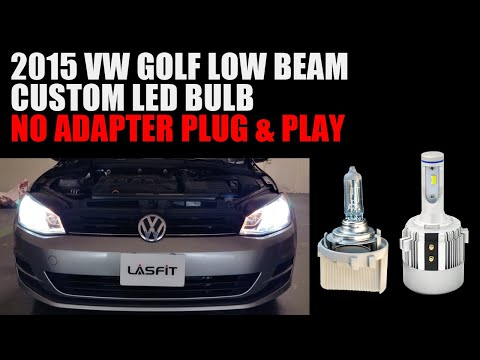 Volkswagen Vw Golf 2015: Plug And Play LED Headlight Bulbs Replacement On Low Beam Holder Adapter