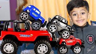 سباقات سيارات اطفال بين عبودي ويوسف ولارا !! Colorful kids car races