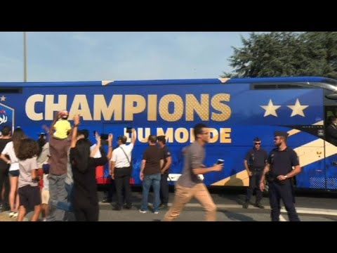France team bus leaves airport on its way to the Champs-Elys