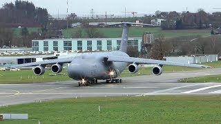 U.S. Air Force C-5 Super Galaxy landing and extreme short takeoff at Zurich Airport