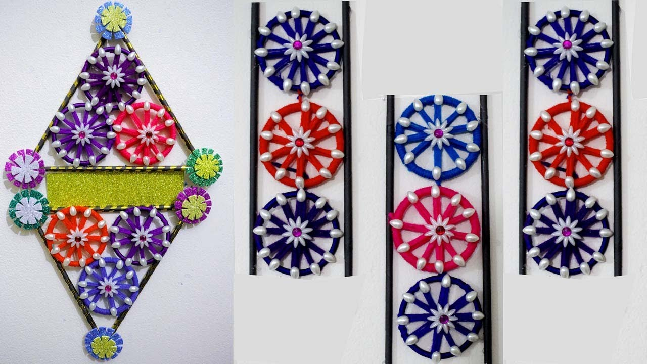 How to make wall hanging from old bangles home for Decoration pieces from waste material