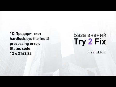 1С:Предприятие: hardlock.sys file (null) processing error. Status code 12 4 2163 32