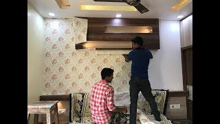 How to pasting Wallpaper in wall ? WallPaper Design for Bedroom 2019