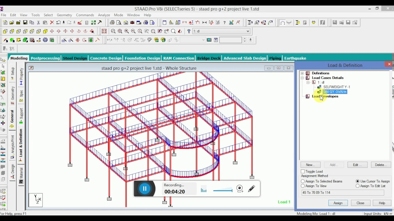 STAAD PRO LIVE PROJECT MODEL DESIGN & MODELLING OF G+2 MULTISTOREY RCC  BUILDING
