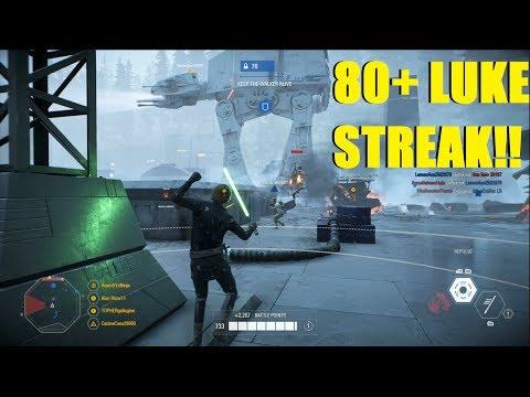 Star Wars Battlefront 2 - HUGE 80+ Luke Skywalker Killstreak! | DICE PLEASE NERF POLES! thumbnail