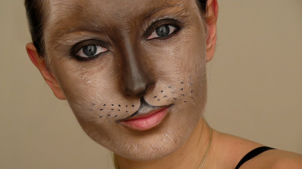 Cat Mask Halloween Makeup Tutorial - YouTube