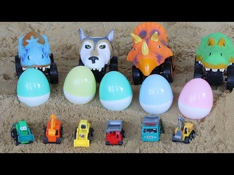 รถบรรทุก รูปสัตว์ ขนไข่เซอร์ไพรส์ กับ รถแม็คโคร | Dump Truck excavators and surprise eggs.