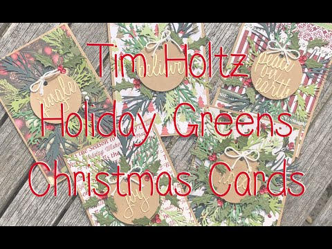 Tim Holtz Holiday Greens Kraft Christmas Cards Set