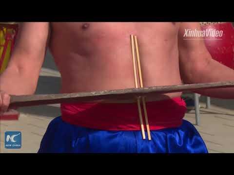 "Villager displays incredible ""iron body"" Kung Fu in Henan, China"