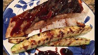 Grilled Salmon With Homemade Teriyaki Sauce - Cá Hồi Nướng Da Giòn