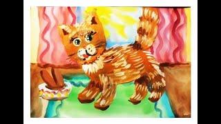 Как нарисовать кошку. Поэтапный рисунок гуашью. Видео урок для детей 5-7 лет.