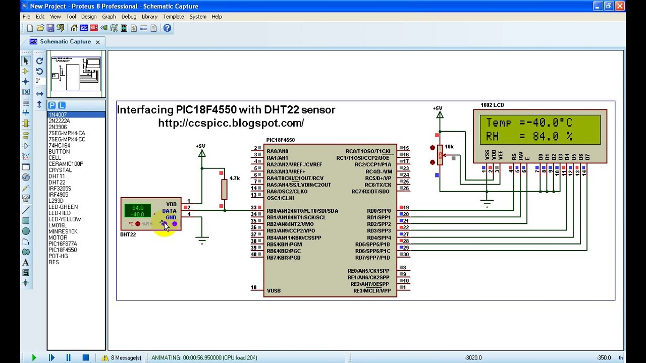 PIC18F4550 microcontroller and DHT22 (AM2302, RHT03) sensor Proteus  simulation by Simple Projects