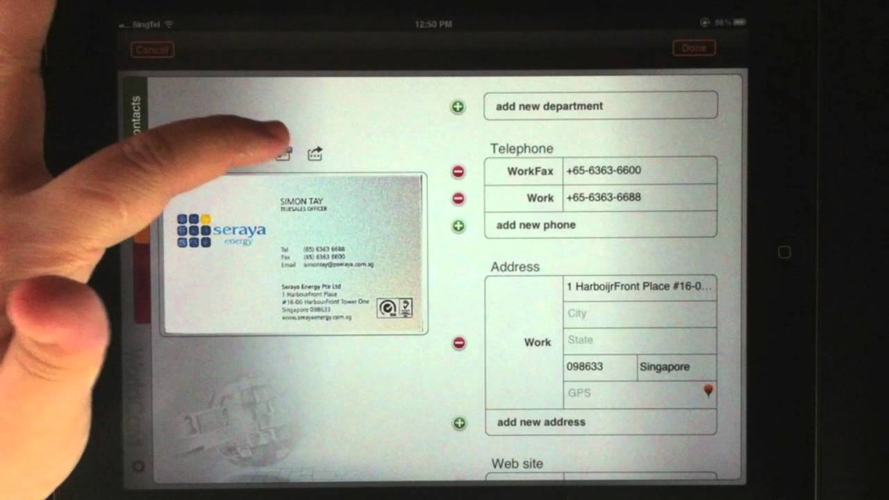 worldcard hd the intelligent business card manager ipad video review - Business Card Manager