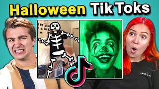 Adults React To And Try Halloween Tik Tok Challenges (Spooky Scary Skeletons, Beetlejuice)