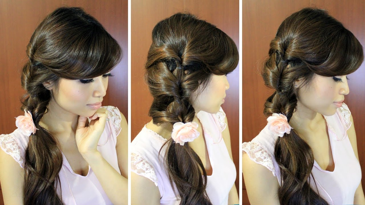 Everyday Fancy Loop Ponytail Hairstyle for Medium
