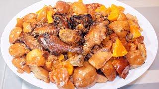 Утка с яблоками, тыквой и сухофруктами, запеченная в духовке