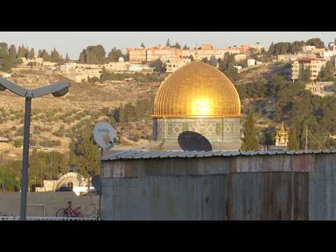 The Old Jerusalem city observation on the Mount of Olives, Temple Mount and Mount Scopus. Chanukah