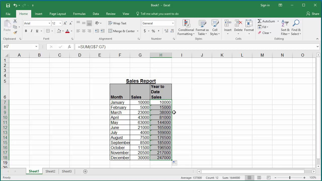 How To Calculate Running Totals Or Cumulative Sum For A Range Of Cells In Excel  2016