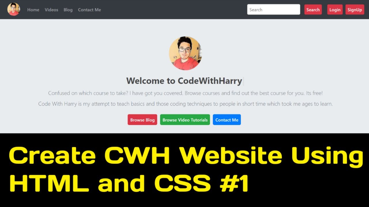 Create Navbar of Codewithharry.Com Using HTML and CSS    Coding Power    CWH Part 1