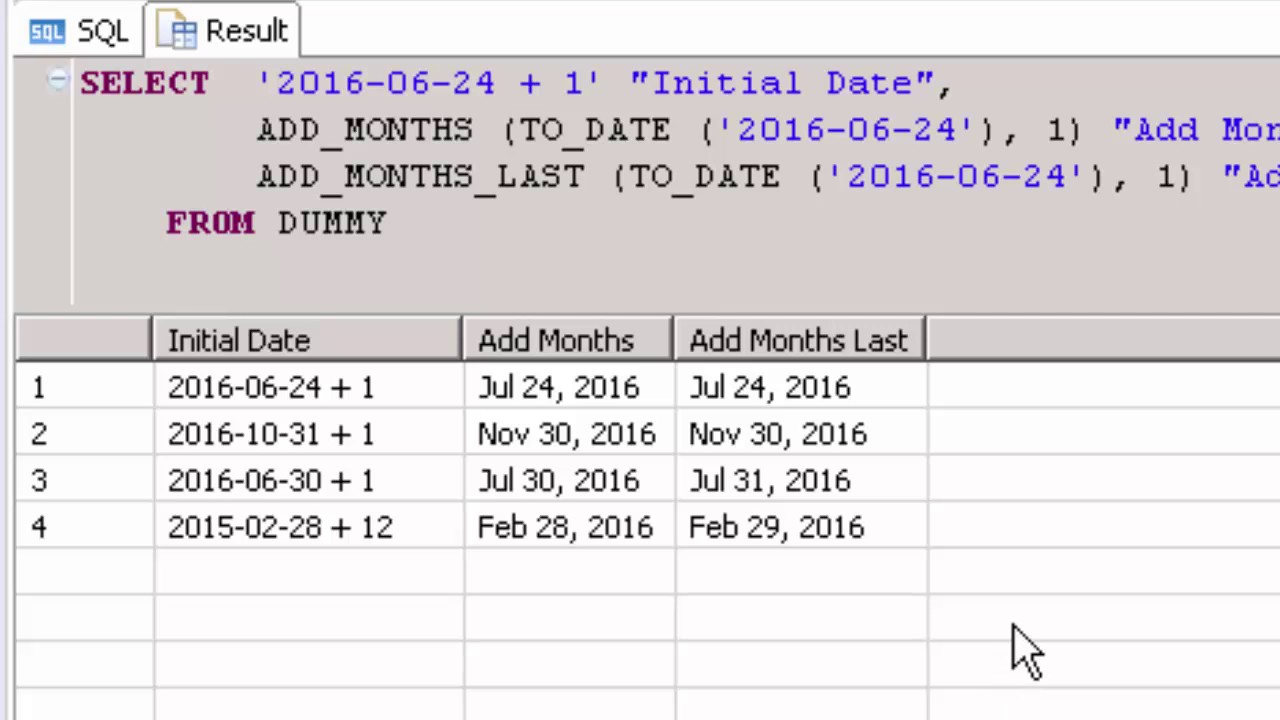 SAP HANA Academy - SQL Functions: Add_Months_Last [2 0 SPS 00]