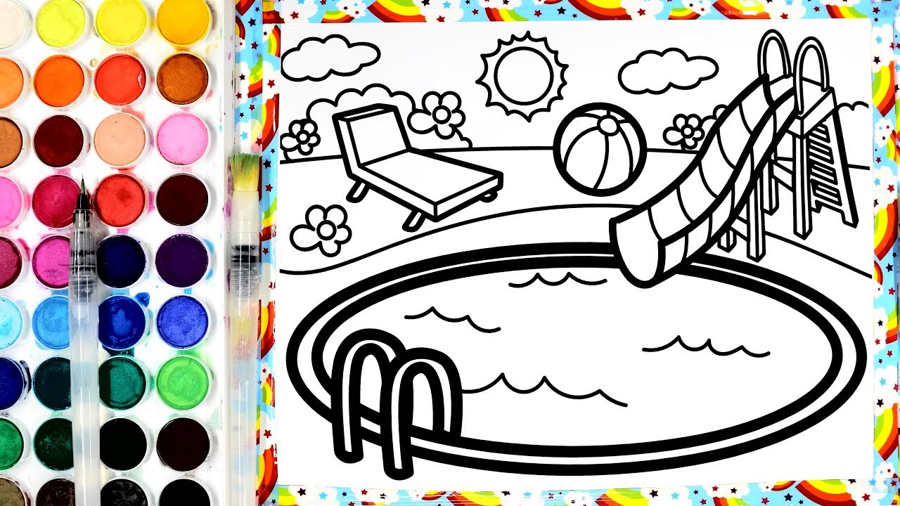 Coloring Swimming Pool with Paint Painting Pages for