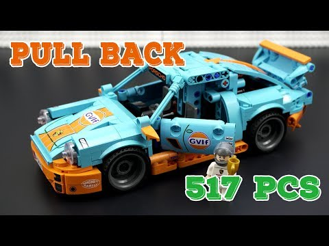 Lego Cars: Pull Back Porsche Brick Set Speed Build & Review   Unofficial Lego