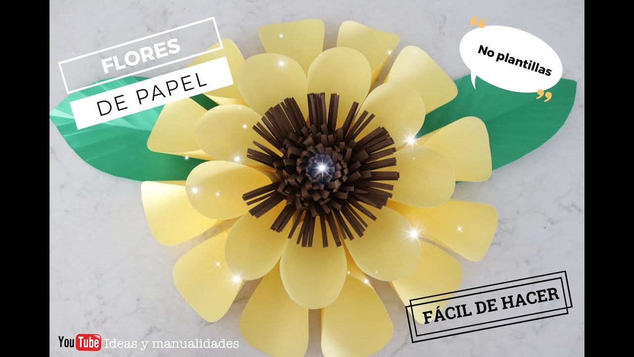 🌻Como hacer girasoles grandes de papel 🌻| Flores gigantes | No plantillas  - YouTube