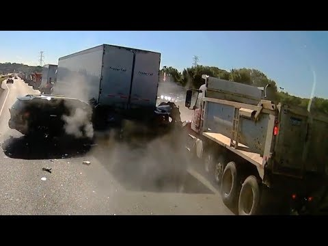 Dump Truck Crashes Into Line Of Stopped Cars Near Burnsville
