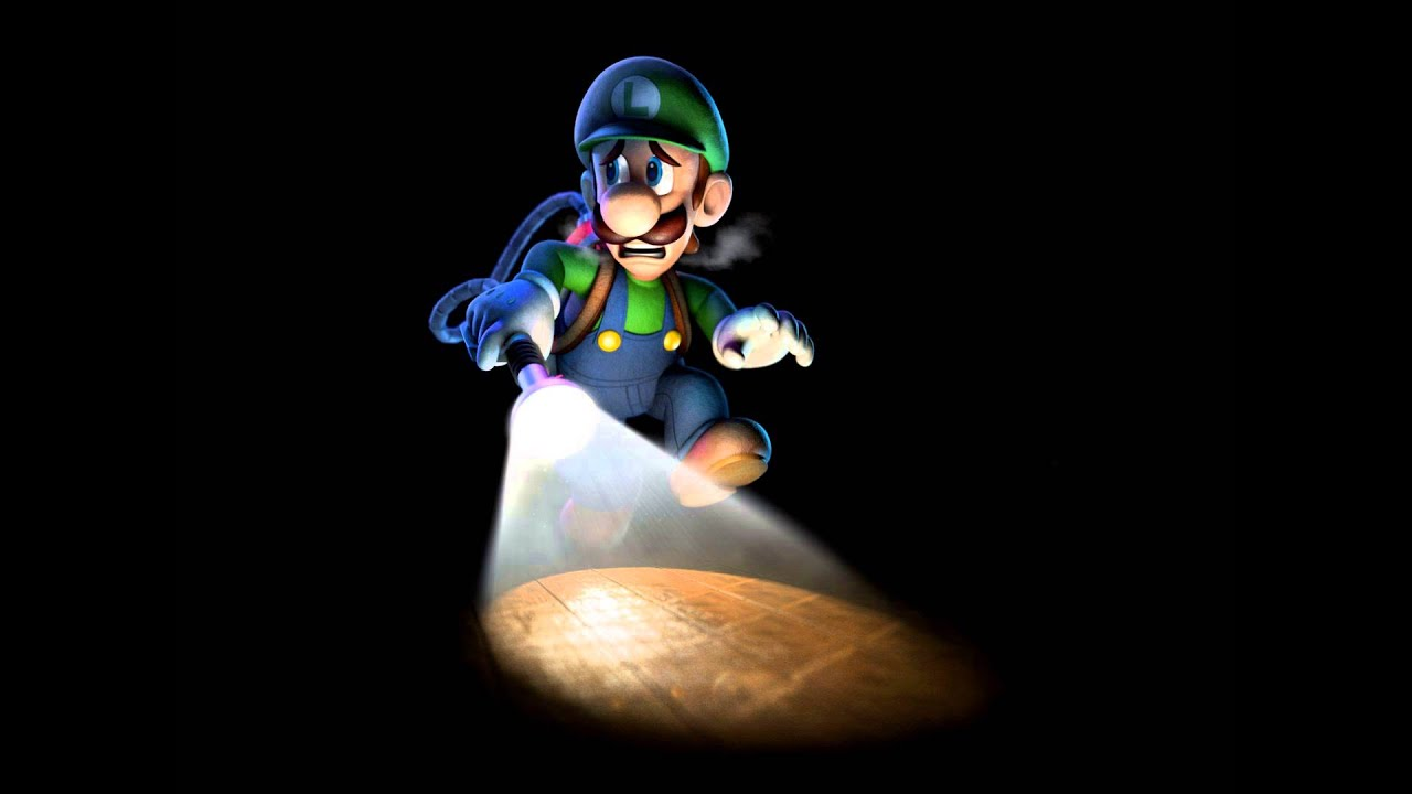 Luigi with his Poltergust 3000, sneaking through the dark.