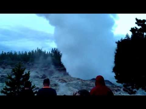 Steamboat Geyser eruption in Yellowstone Wednesday July 31,2013