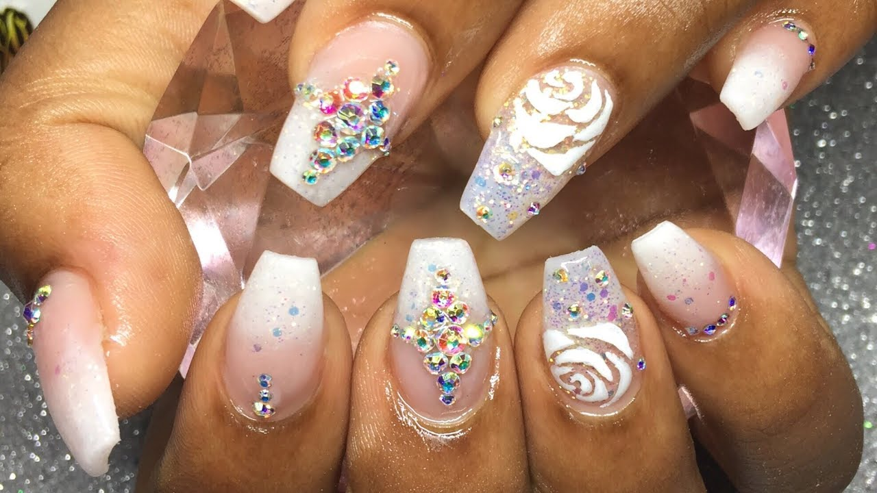 Watch Me Work | Bridal Inspired | Babyboomer | Rose Nail Art ...