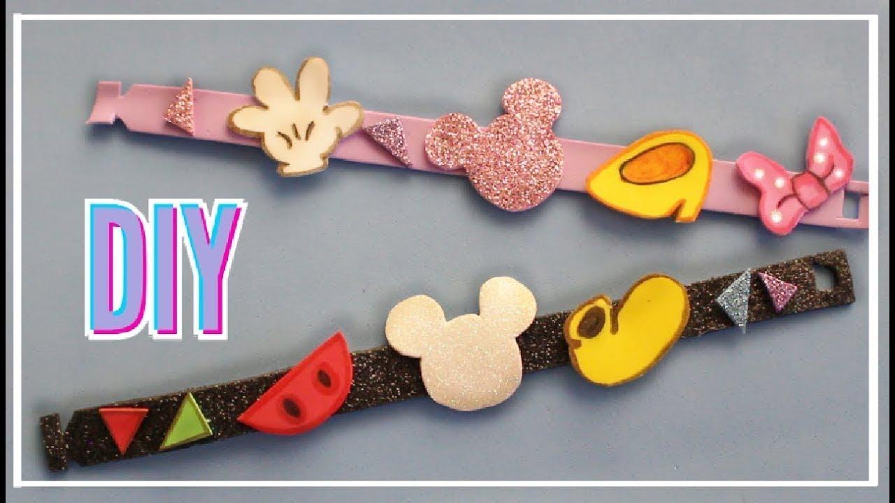 Como hacer pulseras de mickey mouse y minnie mouse con for Como hacer pulseras de goma eva