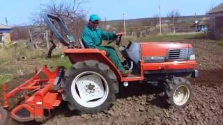Трактор Kubota GL-240 работа с фрезой (почвофреза)