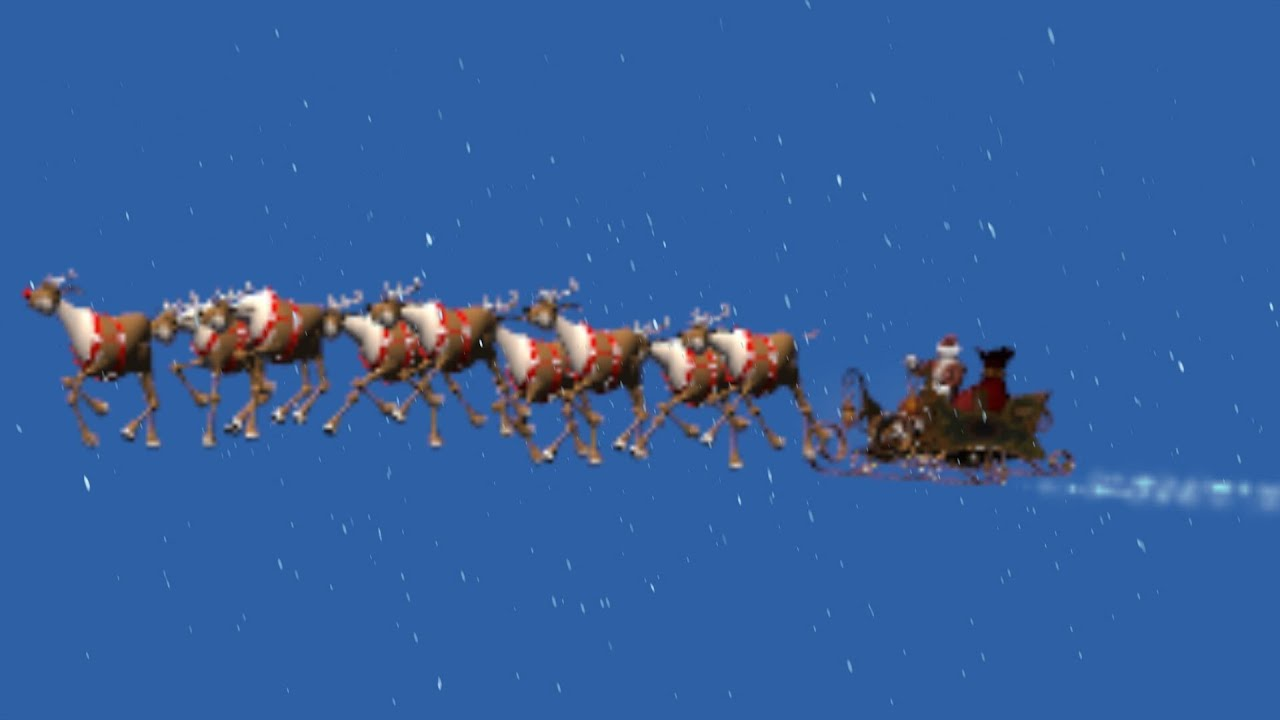animated santa claus with sleigh in snowfall blue black screen