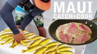 Catch Cook EAT TROPICAL FISH! Hawaiian Ta'ape Blueline Snapper | Maui, HI Part II