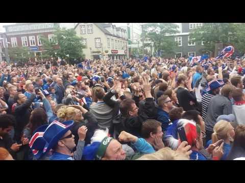 Celebrations in Reykjavik after Iceland winning goal vs. Austria