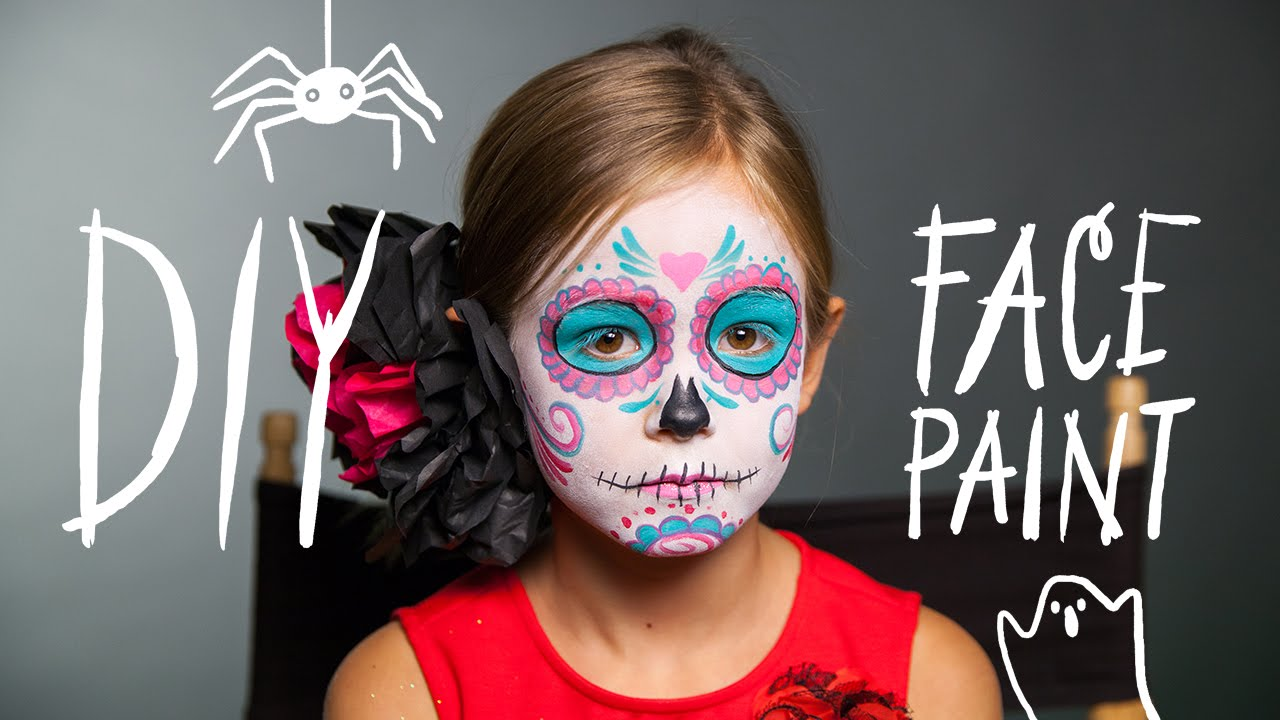 diy face paint sugar skull makeup for halloween youtube - Halloween Skull Face Paint Ideas
