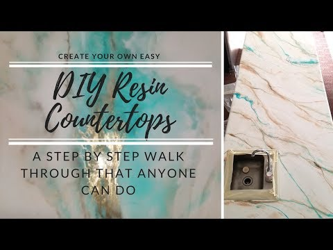 HOW TO resin over existing countertops (Our First 8 ft counter and you can do it too)