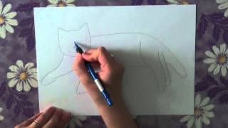 Как нарисовать кота поэтапно. Часть 4.(В данном видео я расскажу о том, как нарисовать поэтапно кота. Рисуйте с нами в нашей группе http://vk.com/shkola_izo...., 2013-05-12T06:01:23.000Z)
