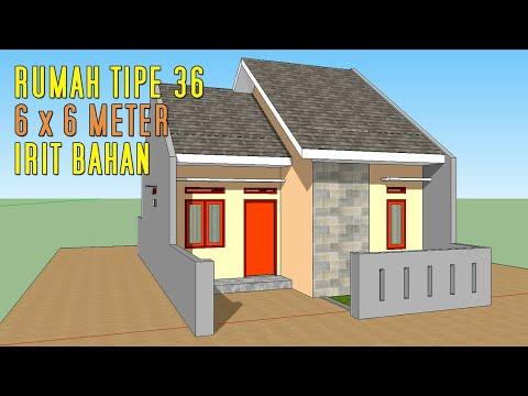Desain Rumah 70 Jutaan 6 X 6 Meter 2 Kamar Tidur Tipe 36 Gaya Perum Sketchup Design Youtube