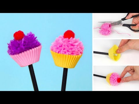 How to make a Pom Pom Cupcake Pencil Topper
