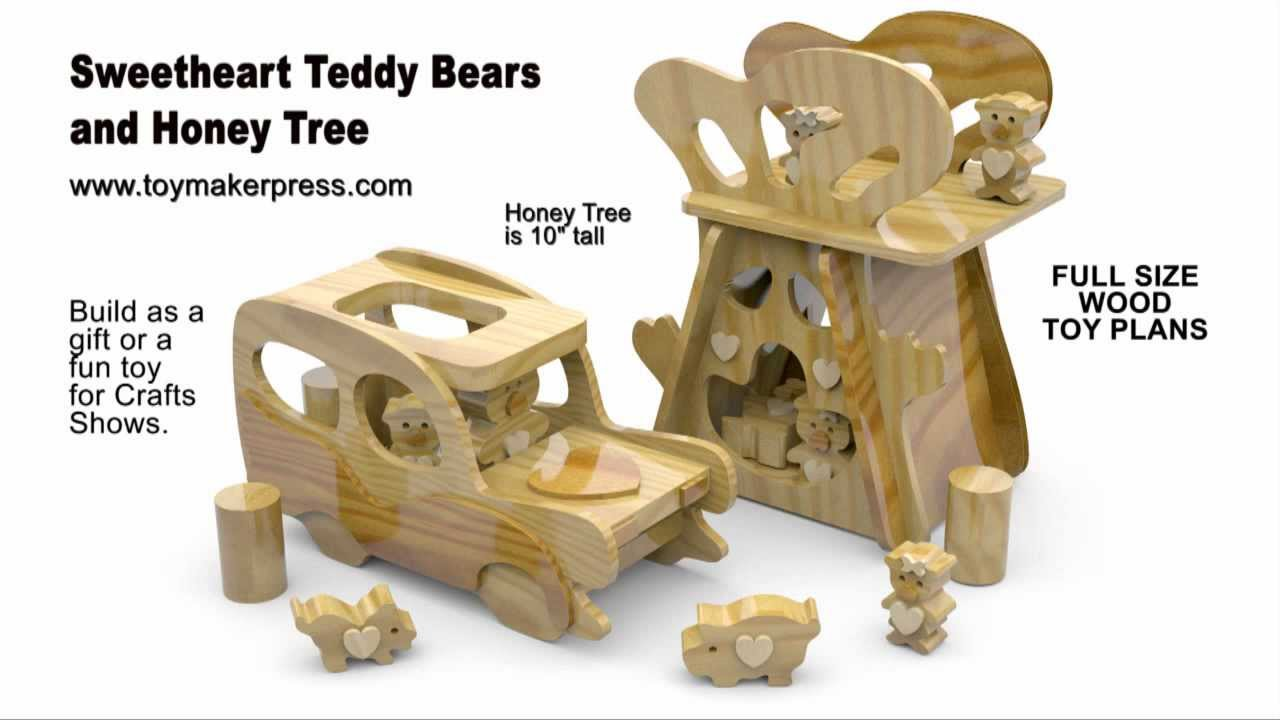 Wood Toy Plans - Scroll Saw - Teddy Bears & Honey Tree Play Set ...