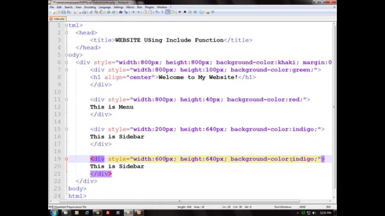 How to make a website using html and php